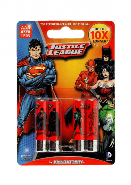 AAA Batterien - 4 Stück - Justice League Design