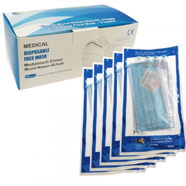 Medizinischer Einmal Mund-Nasen-Schutz - 50 Stück